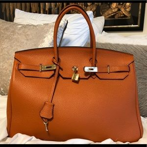 f4d52fa8f0 Ainifeel Bags - Ainifeel 40CM Orange W  Gold Padlock Handbag